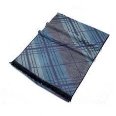 Buy fashion mens stripe print cashmere scarf blue 180cm*32cm MES0010