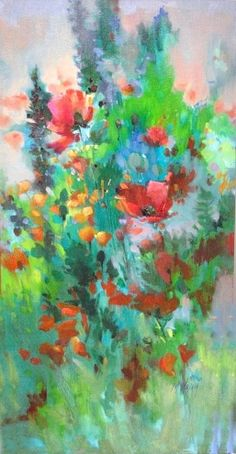 Jewel Toned Floral, painting by artist Mary Maxam