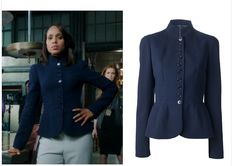 "Alexander McQueen navy wool crepe peplum fitted band collar from Episode 302: ""Guess Who's Coming to Dinner."""