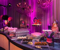 Liquid Nitrogen ice cream floats, homemade oreos, lavnder and magenta cotton candy, lollipops are served with Veuve Clicquot.