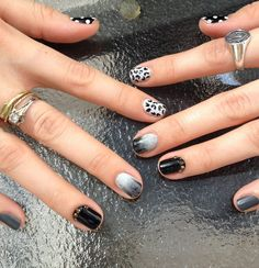 black and white nail art--did the middle fingernails art last week