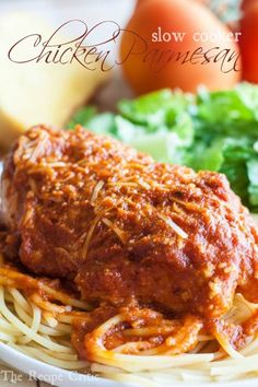 Slow Cooker Chicken Parmesan Recipe ~  So easy to throw into your crockpot and it is absolutely amazing!