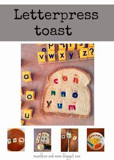 food idea, letterpress toast, snack, kid