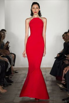 Zac Posen spring 2015 neoprene strapless red dress