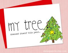 Funny Christmas Card  Christmas tree card cute by danaspaperie. Holiday cards
