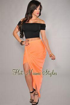 Neon Orange Ruched Asymmetrical Draped Jersey Skirt