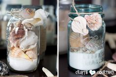 Summer Beach Decor Inspiration: China Cabinet: Wrapping Shells Around a Mason Jars for Beach Theme Craft