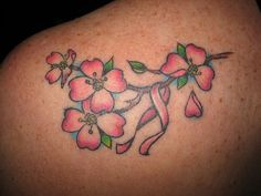 Dogwood tattoo... Love the shading on this one. Love this cuz it ties in the breast cancer ribbon