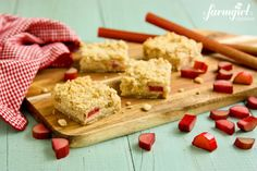 Rhubarb Cream Cheese Bars via @Brenda Score | a farmgirls dabbles