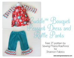 Cuddle Bouquet Peasant Dress and Ruffle Pants - Free Pattern by www.sewingmamaraeanna.com @Sewing Mama RaeAnna - Features Nested Owls Cuddle by @ADORNit