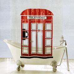 Aquarius Bath Fashions Telephone Booth Shower Curtain - Beyond the Rack telephon booth, booth shower, fashion telephon, aquarius bath, bath fashion, shower curtains
