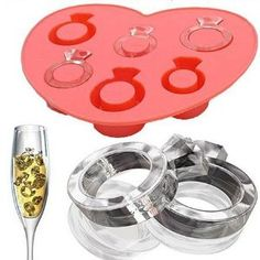 Wedding ring ice cubes.