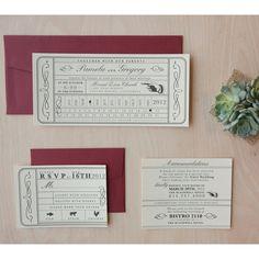 Vintage Ticket Wedding Invitation  Punch Card by JenSimpsonDesign, $4.25