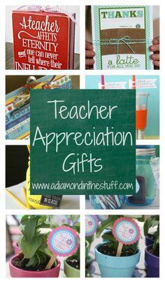 Teacher Appreciation Gifts. Lots of cute DIY ideas for teacher gifts.