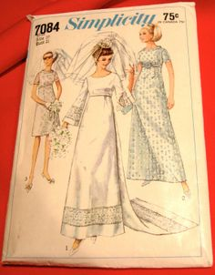 Wedding dress Sewing Pattern- long sleeves-1960s Empire Waist- Wedding Dress & Bridesmaid Dress