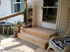 wooden mobile home porch steps