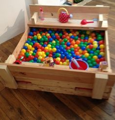 Pallet furniture. Ball pit for kids.
