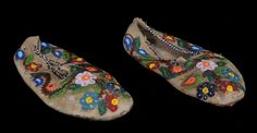 Pair of 19TH C. Metis Beaded Moccasins with Floral Design - Stunning