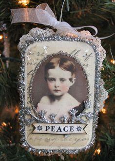 alter art, vintage photos, altoid tin, tin ornament, vintage ornaments