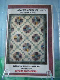 """Quilt Pattern """"Necktie Memories"""" Using Neckties 5 Pattern Sizes 2011 #CottageQuiltDesigns"""