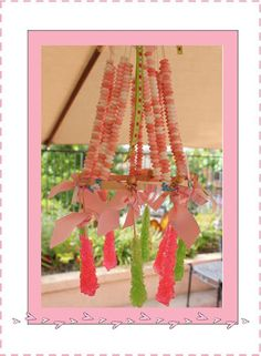 Yes, it's a Candy Chandelier!  So cute and edible too.  Check it out here plus lots more fun things for a Ballerina/Ballet birthday party or a Pinkalicious birthday party.