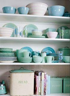 Country Chic: Country Blues, greens & Azures. #vintage #kitchen #jadeite #jadite #delphite #azurite #milkglass