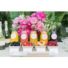 LOVE this Mimosa Bar set-up! Comes with 3 bottles of bubbly $139 @Erika Carbajal