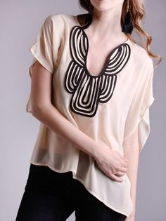 #black and cream chiffon  #Fashion #New #Nice #Blouse #2dayslook  www.2dayslook.com