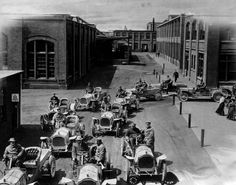Packard cars go for a road test inside the grounds of the vast Packard plant on East Grand Boulevard in Detroit in 1905.