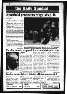 Daily Sundial, April 25, 1985. Students stage a sleep-in urging the divestment of CSUN Foundation funds from South Africa in protest of the apartheid system. California State University, Northridge, Department of Journalism. CSUN University Digital Archives.
