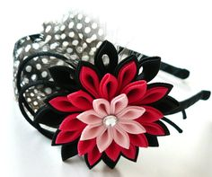 Kanzashi Fabric Flower headband with feathers. Black and by JuLVa, $18.50
