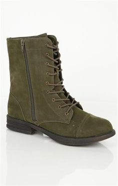 #olive lace up #combat #boot