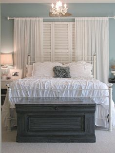 """Do you hear the surf? I feel all 'beachy"""".  Great combos in color and texture, love the little chandy. The chest at the bottom of the bed is like a gray anchor~! (muse)"""