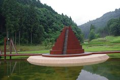 """Corten steel step pagoda in Murou Art Forest near Nara, Japan designed by Israeli artist, Dani Karavan, world famous pioneer of environmental formative art and monuments focusing on """"Fusion with nature"""""""