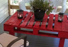 12 DIY Recycled Pallet Tables - Red color Pallet coffee table.