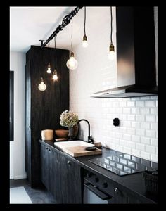 Black and White Kitchen with Contemporary Lights