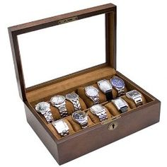 Vintage Wood Glass Clear Top Watch Display Storage Case Chest Holds 10+ Watches With Adjustable Soft Pillows and High Clearance for Larger Watches $59.99