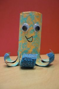 Octopus made from paper towel rolls