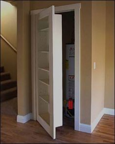 How cool is this idea? A closet door is turned into a bookcase! This would be a perfect idea for small spaces.