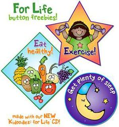 We hope you enjoy these three FREEBIES made with clipart from our 'Kidoodlez: for Life' collection! Use as buttons or stickers at health fairs, add them to your planner, or post them to your bulletin board as healthy reminders! Available for a limited time! (through 3/5/14)