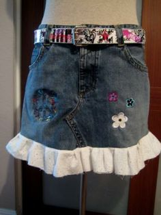 SALE Funky Denim Skirt  and Belt Upcycled SZ M L by whiteowl for $22.00 #zibbet