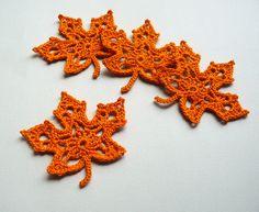 4 Orange Leaf Appliques -- Crochet Maple Leaves