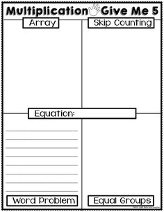 "Multiplication Give Me 5 Worksheet and Poster - FREE - How students ""show what they know"" about multiplication."