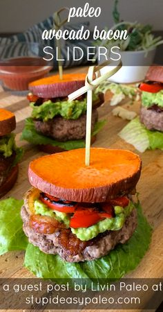 Paleo Avocado Bacon Sliders via Stupid Easy Paleo #lowcarb #healthy #protein paleo sliders, bell peppers, bacon slider, burger recipes, paleo avocado, veggie burgers, bacon sweet potato paleo, avocado paleo, avocado bacon