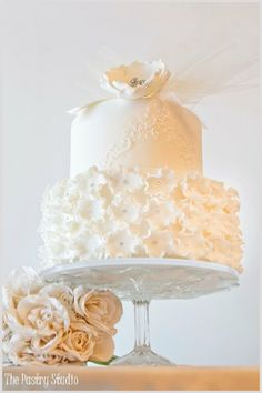 #ivory bridal shower cake by The Pastry Studio