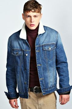 Sherpa Collar Denim Jacket at boohoo.com