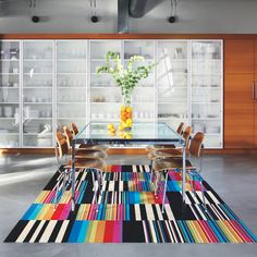 interior design, home decor, carpets, rugs, rainbow, patterns, stripes, carpet by Flor