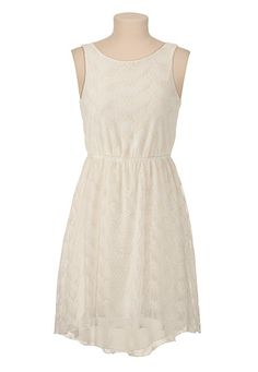 Chiffon Back High-Low Hem Lace Tank Dress available at #Maurices