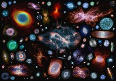 100 colorful planetary nebulae, at apparent size relative to one another. Image processing and collection by Judy Schmidt.
