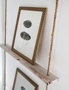 hanging shelves made from jute rope and driftwood. @Tina Florance, this would be a cool solution for your kiddo's room for narrow shelving.